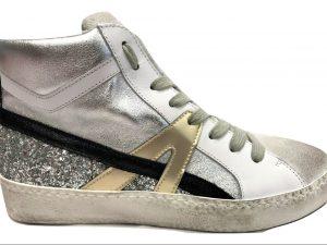 Meline Kuc 1325 Pelle Bianco Glitter Argento