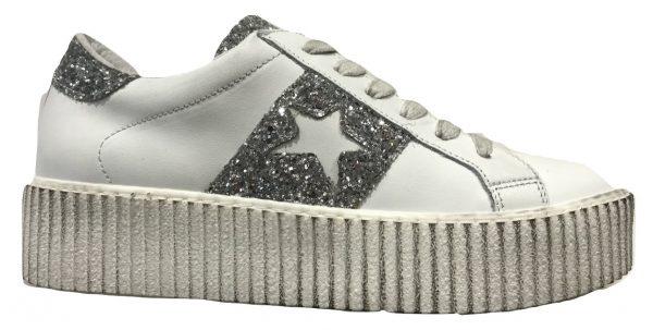 Meline Rh 4884 Pelle Bianco Glitter Argento