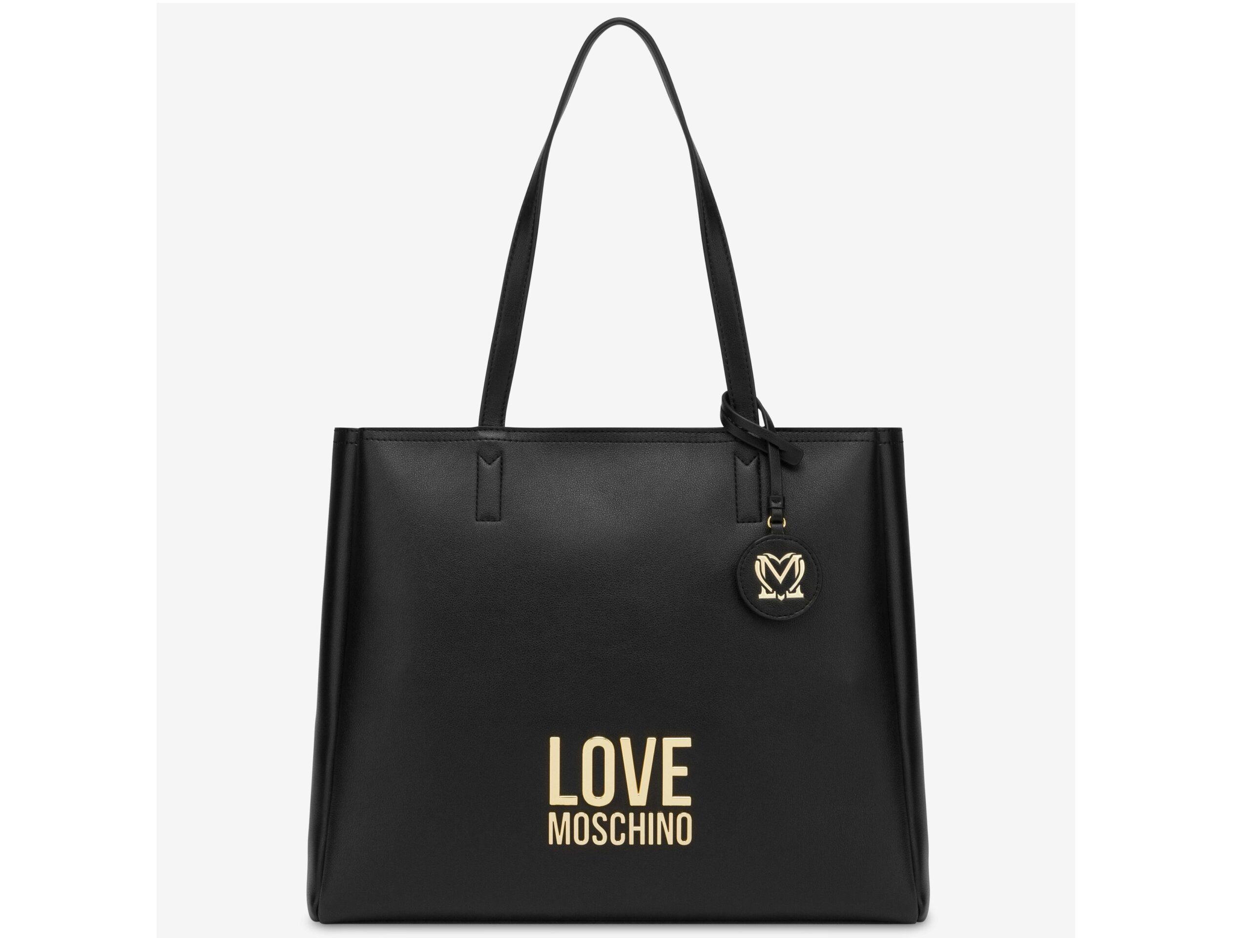 love moschino jc4100pp1clj000a nero shopper gold metal logo