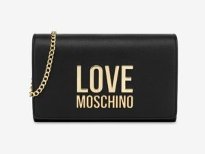 love moschino jc4127pp1cln2000 nero clutch gold metal logo
