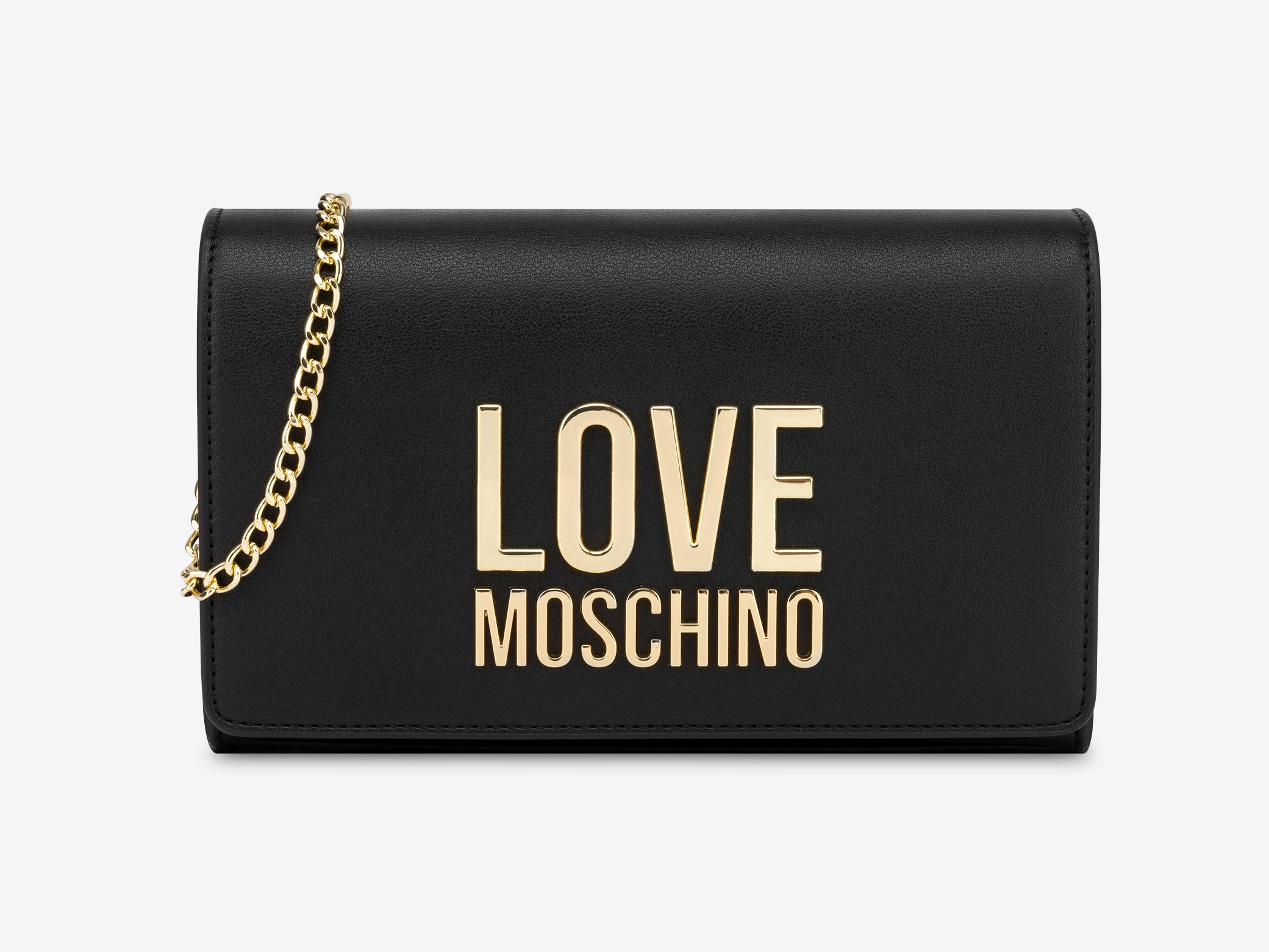 love moschino jc4127pp1cln2000 nero clutch gold metal logo