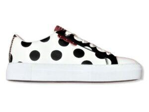 manila grace sneaker low top a pois grandi s1ds649lpma063 bianco nero