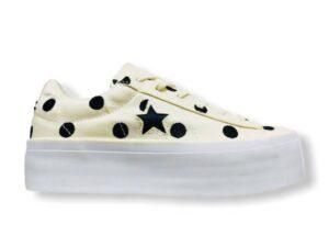 converse all star 560696 ox one star paltform cream pois chuck taylor